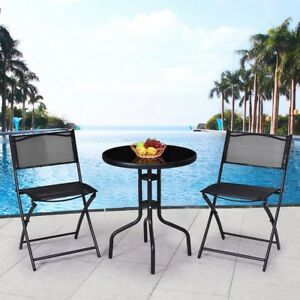 3 Pcs Outdoor Folding Furniture Armless Bistro Sturdy Round Table Chairs Set New $118.99