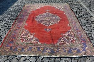 red color vintage oversize rug 7.3 x 10.5 ft (223 x 321 cm) oushak rug code 39