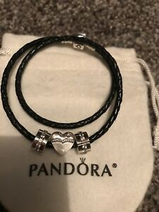 Pandora Black Double Wrap Leather Bracelet Size 1 With 2 Clips And Bride Charm