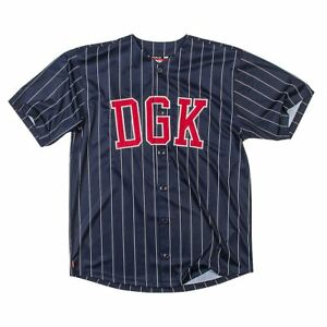 DGK Men's Grounder Baseball Jersey Buttondown T Shirt Blue Clothing Apparel