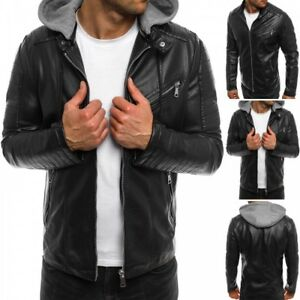 Men's Motorcycle Brando Style Biker Real Leather Hoodie Jacket - Detach Hood -FZ