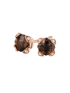 2.50ct tw Chocolate & White Diamonds 18K Honey Gold Over Womens Stud Earrings