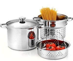 Cook N Home 4 Piece 8 Quart Pasta Cooker Steamer Multipots Stainless Steel