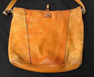 RARE Vintage GOLD PHEIL Leather Hobo Handbag Made In Germany Weathered