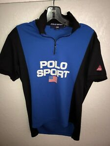 VTG Polo Sport Ralph Lauren Color Block Spellout 14 Zip Cycling Polo Shirt Med