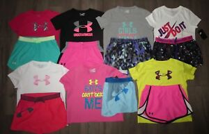Lot 14 Girl's NIKE UNDER ARMOUR Shorts Shirts Set 6 NWT 8 GENLTY USED YLG Large