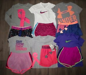 Lot 12 Girl's NIKE UNDER ARMOUR Shorts Shirts Set 5 NWT 7 GENLTY USED YLG Large
