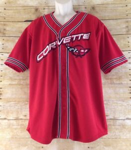 Steve & Barrys Men Medium Chevy Corvette Baseball Style Button Down Jersey Shirt