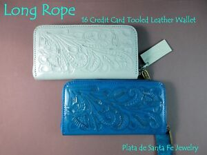 Long Rope~16 Credit Card/Checkbook/Coin~Tooled Leather~Zip Style~Western Wallet