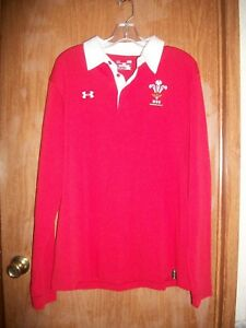 NWT UNDER ARMOUR RED & WHITE LOOSE FIT WRU RUGBY LS POLO SHIRT SZ LARGE $89.99