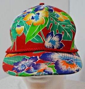 VTG Hawaiian Baseball Hat Cap Snapback Floral Flower Tropical Multi Colored