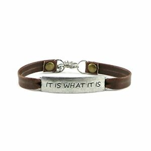 Vintages Leather Bangle Bracelet Women's Jewelry Gift Inspirational Quote It ...