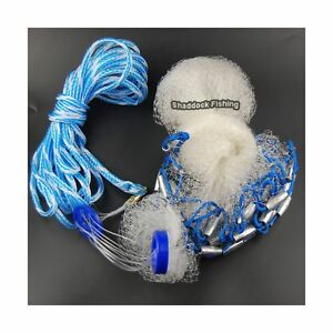 Saltwater Fishing Cast Net with Real Lead Sinker Weights Nylon Monofilament C...