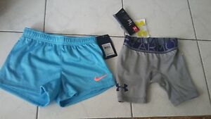 NWT girls lot size XS Under Armour shorts + size 6 Nike shorts NWT