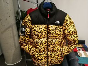 Supreme x The North Face FW '11 Yellow Leopard Nuptse Jacket Sz Large AUTHENTIC