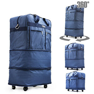 30quot; Blu Rolling Wheeled Duffle Duffel Bag Spinner Suitcase Luggage Expandable