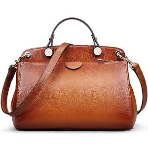Genuine Leather Designer Handbag Women Clearance Doctor Style Top Handle Brown
