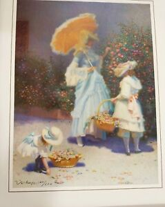 Victorian Garden Mother Daughters Flowers Signed Limited Print by James Verdugo $199.00
