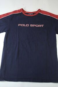 Vintage Polo Sport Script Graphic T-Shirt Size L navy red vtg spell out