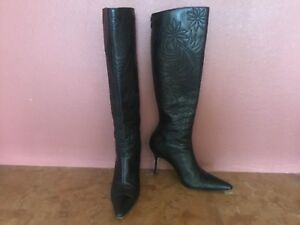 "Authentic Manolo Blahnik ""Grenada"" Black Knee HIgh Boots Size 8B Retail $1400!"