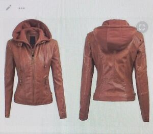ARROW WOMENS BROWN LEATHER JACKET WITH HOODIE – 90808R