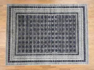 9'x12' HandKnotted Silk with Oxidized Wool Repetitive Design Rug G40585