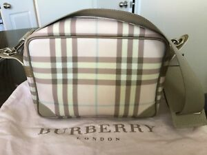 Authentic BURBERRY check pattern Shoulder Bag NylonLeather