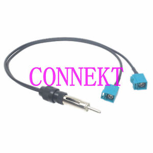 Y Splitter Cable DIN male to 2x Fakra Z 5021 female Car radio Aerial Antenna 1FT