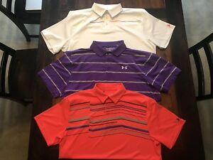 Lot of 3 Under Armour Heat Gear Loose Fit Polos Size XXL ColdBlack