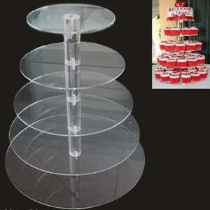 Adeeing Fashioned 5 Tier Uninstalled Round Crystal Acrylic Cupcake Tower Stand W