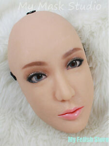 (Ching)Top Quality Handmade Half Head Silicone Female Mask Coressdress Doll