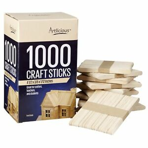 Artlicious 1000 Natural Wooden Food Grade Popsicle Craft Sticks $14.99
