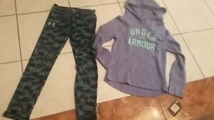 NWT lot of Girls Under Armour hoodie size 6 + NWT leggings size 6 color blue