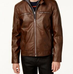 $261 GUESS Men BROWN FAUX LEATHER MOTO BIKER FULL ZIP JACKET WINTER COAT SIZE S