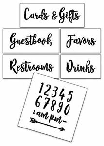 Wedding Stencil Words - For Guests - Rustic Script 6pc Large Set - STCL1592_3...