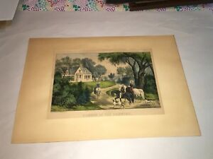 Original Currier amp; Ives Print Summer In The Country Nice Color $165.00