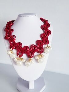 Pearls Red and Leather Choker Necklace Women Red Necklace Gift Red Necklace