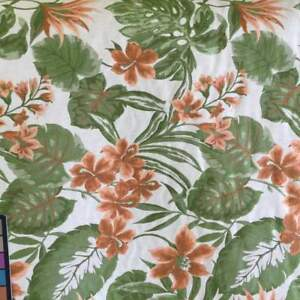 Tropical Floral in Orange and Green on White  Heavy Duty Upholstery Fabric