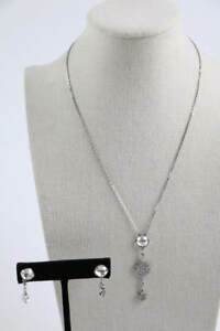 Swarovski Silver Tone Clear Crystal Star Necklace Earring Set