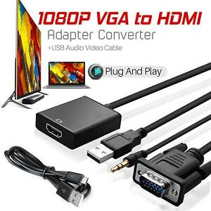 1080p Output VGA to HDMI HD+ Audio TV AV HDTV Video USB Cable Converter Adapter