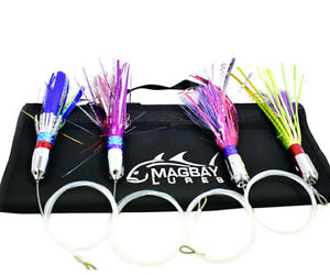 8 Inch Jet Head Lures - Rigged 4 Pack + Lure Bag - Mahi Tuna Marlin Albacore