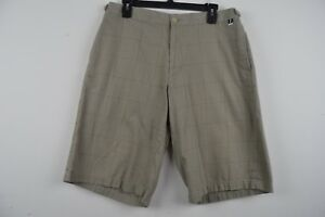 Ashworth Golf Company Mens 34 Beige Tan Casual Shorts Plaid Houndstooth