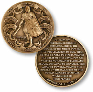 NEW Armor of God High Relief Ephesians 6:11-13 Bronze Challenge Coin.