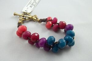 Fossil Woman's Jewelry Woven Semi Precious Stones Multi Color Bracelet #246
