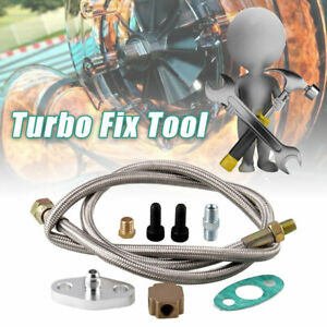 1/8 NPT 4AN Turbo Oil Feed Line Adapter Kit Stainless Steel Braided T3 Universal