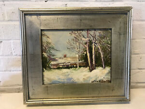 Vtg Antique Olive Ruth Holbert Chaffee Oil on Board Winter Landscape Painting