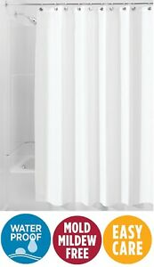 White Waterproof Mold Mildew-Resistant 6FTx6FT Fabric Shower Curtai