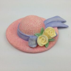 Pink with Yellow Rose Ceramic Porcelain Hats Set of 6 Free Shipping