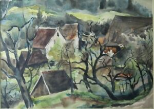Carl Alexander von Volborth 40's Landscape watercolor German Germany signed Alex
