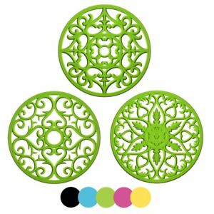 ME.FAN 3 Set Silicone Multi-Use Intricately Carved Trivet Mat - Insulated Non